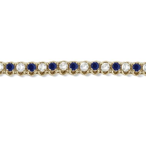 Round Blue Sapphire & Diamond Tennis Bracelet 14k Yellow Gold (4.75ct)