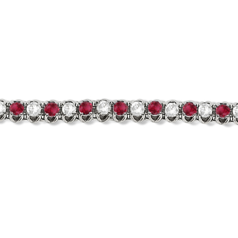 Round Ruby & Diamond Tennis Bracelet 14k White Gold (4.75ct)