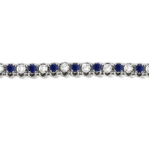 Round Blue Sapphire & Diamond Tennis Bracelet 14k White Gold (4.75ct)
