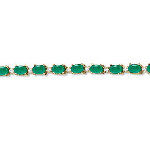 Emerald & Diamond Tennis Bracelet 14k Yellow Gold (12.00ct)