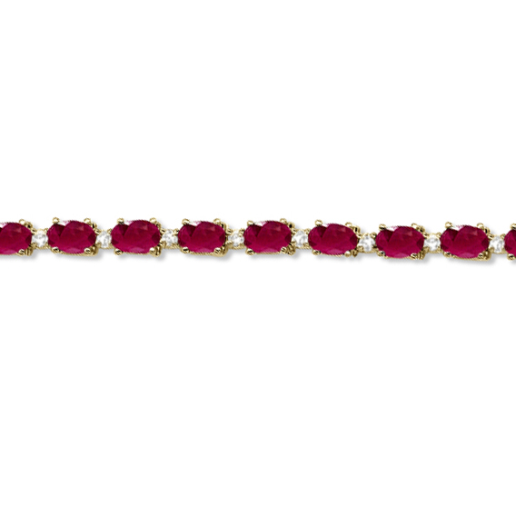 Ruby Diamond Tennis Bracelet 14k Yellow Gold