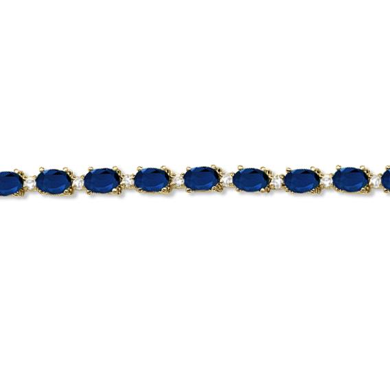 Blue Sapphire & Diamond Tennis Bracelet 14k Yellow Gold (12.00ct)