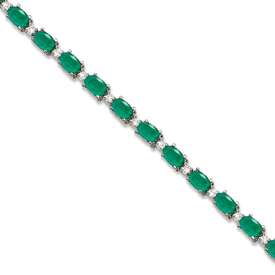 Emerald & Diamond Tennis Bracelet 14k White Gold (12.00ct)