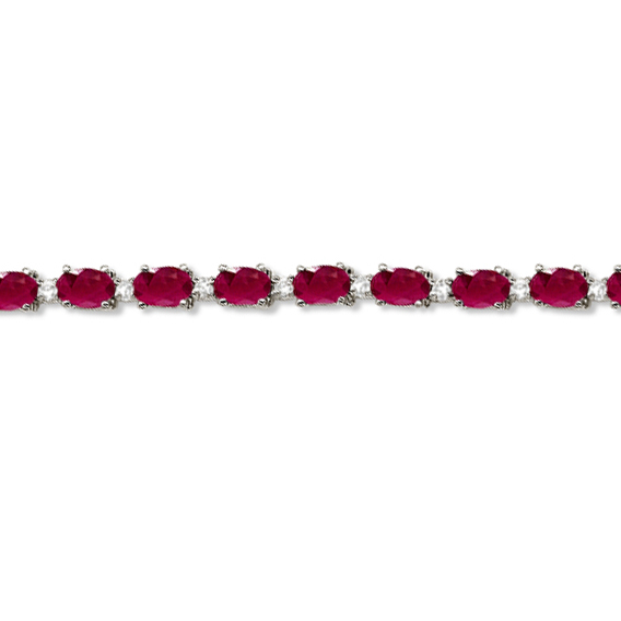 Ruby & Diamond Tennis Bracelet 14k White Gold (12.00ct)