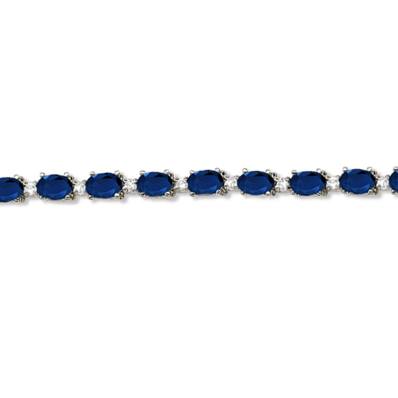 Blue Sapphire & Diamond Tennis Bracelet 14k White Gold (12.00ct)