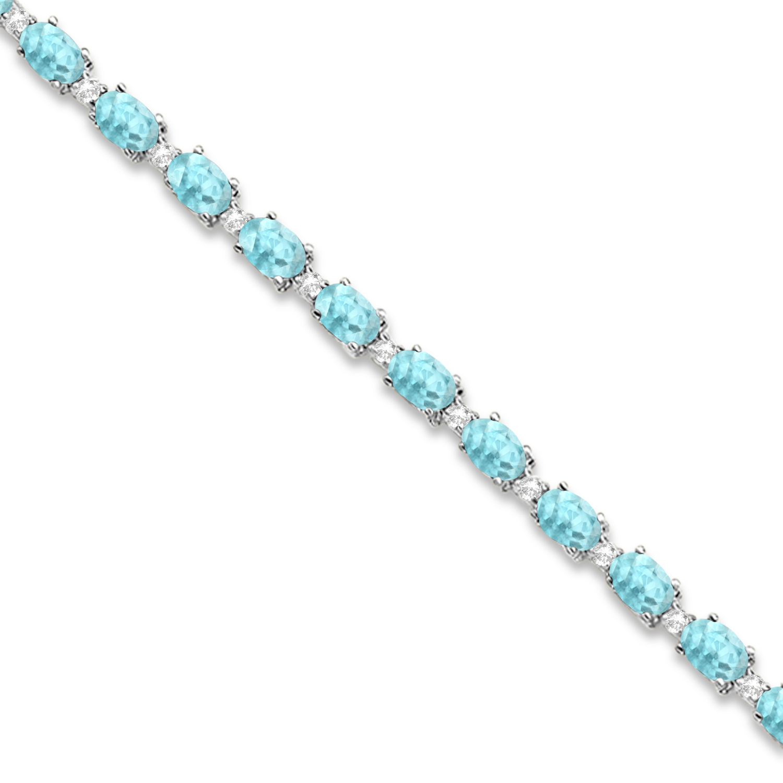 Aquamarine & Diamond Tennis Bracelet 14k White Gold (12.00ct)