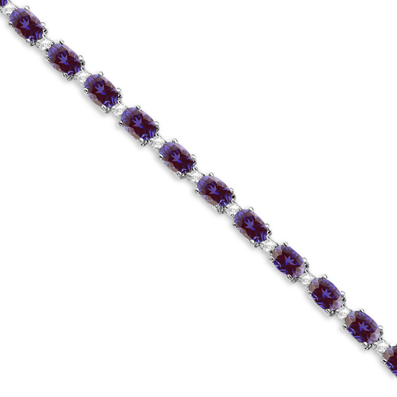 Lab Alexandrite & Diamond Tennis Bracelet 14k White Gold (12.00ct)