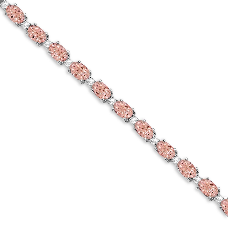 Morganite & Diamond Tennis Bracelet 14k White Gold (12.00ct)