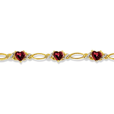 Heart Shape Garnet & Diamond Link Bracelet 14k Yellow Gold (3.00ctw)