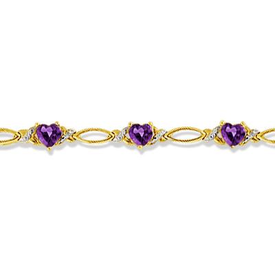 Heart Shape Amethyst & Diamond Link Bracelet 14k Yellow Gold (3.00ctw)