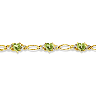 Heart Shape Peridot & Diamond Link Bracelet 14k Yellow Gold (3.00ctw)