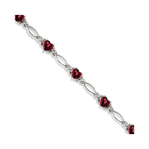 Heart Shaped Garnet & Diamond Link Bracelet 14k White Gold (3.00ctw)