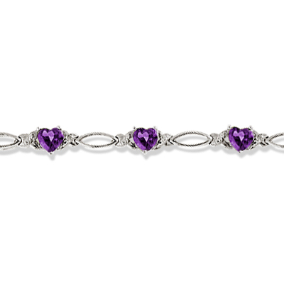 Heart Shaped Amethyst & Diamond Link Bracelet 14k White Gold (3.00ctw)