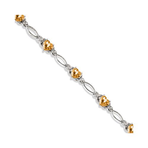 Heart Shaped Citrine & Diamond Link Bracelet 14k White Gold (3.00ctw)
