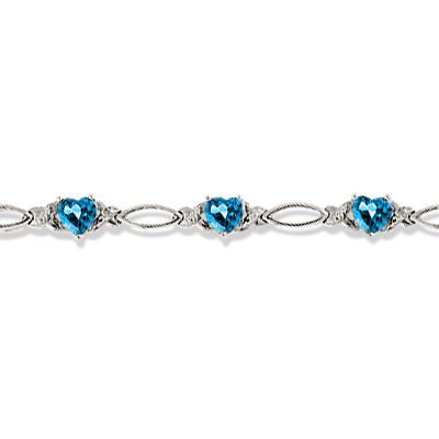Heart Shaped Blue Topaz & Diamond Link Bracelet 14k White Gold (3.00ctw)