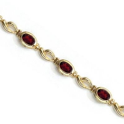 Bezel-Set Oval Garnet Link Bracelet in 14K Yellow Gold (6x4mm)