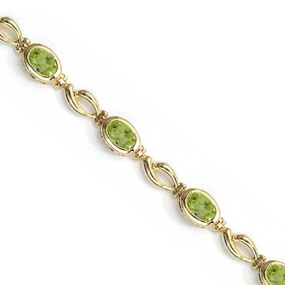 Bezel-Set Oval Peridot Link Bracelet in 14K Yellow Gold (6x4mm)