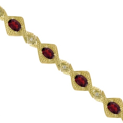 Antique Style Garnet & Diamond Link Bracelet 14k Yellow Gold (5.63ctw)