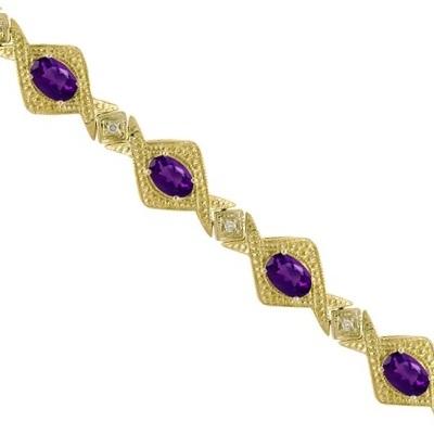 Antique Style Amethyst & Diamond Link Bracelet 14k Yellow Gold (5.63ctw)