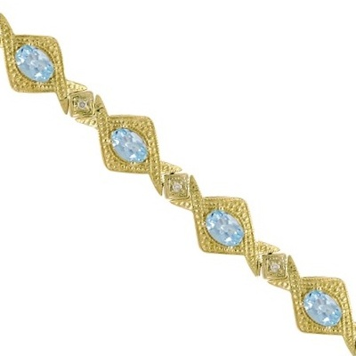 5.63ct Antique Style Aquamarine & Diamond Link Bracelet 14k Yellow Gold