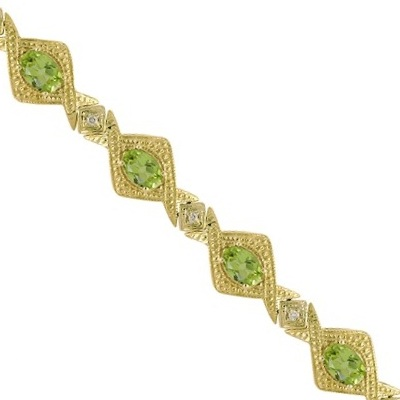 Antique Style Peridot & Diamond Link Bracelet 14k Yellow Gold (5.63ctw)