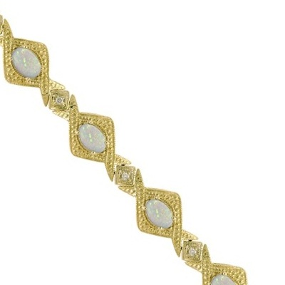 Antique Style Opal & Diamond Link Bracelet 14k Yellow Gold (5.63ctw)