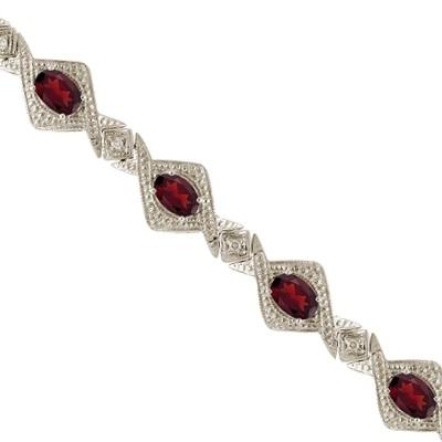 Antique Style Garnet & Diamond Link Bracelet 14k White Gold (5.63ctw)