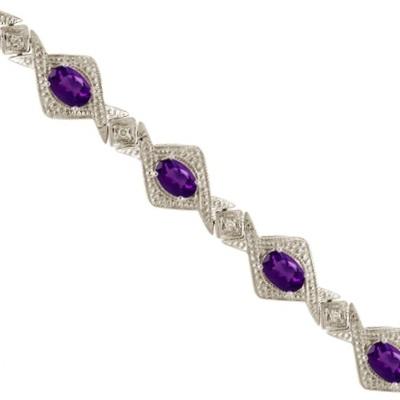 Antique Style Amethyst & Diamond Link Bracelet 14k White Gold (5.63ctw)