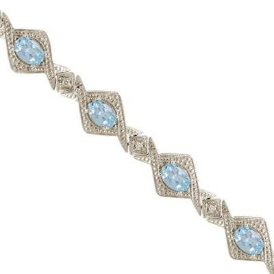 5.63ct Antique Style Aquamarine & Diamond Link Bracelet 14k White Gold