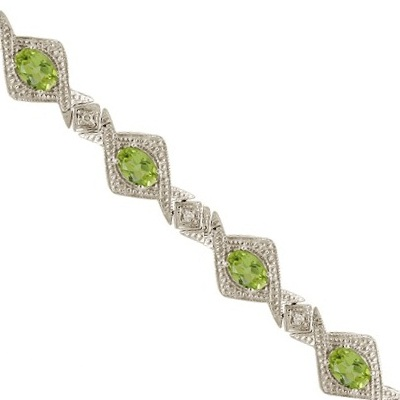 Antique Style Peridot & Diamond Link Bracelet 14k White Gold (5.63ctw)