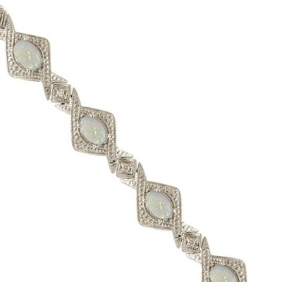 Antique Style Opal & Diamond Link Bracelet 14k White Gold (5.63ctw)