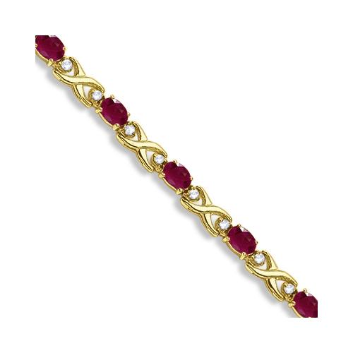 Oval Ruby & Diamond XOXO Link Bracelet 14k Yellow Gold (7.00ctw)