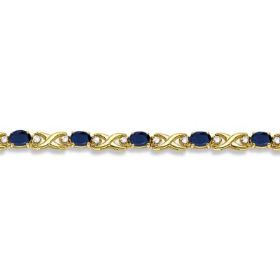 Oval Sapphire & Diamond XOXO Link Bracelet 14k Yellow Gold (7.00ctw)