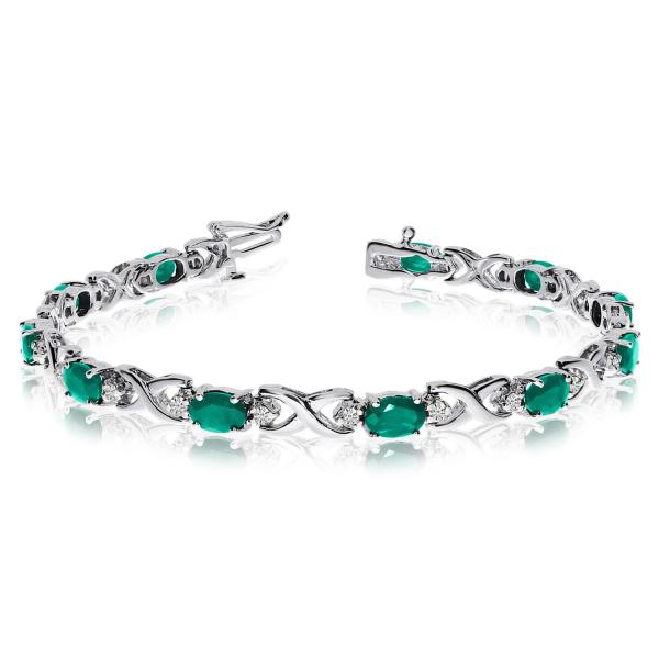 Oval Emerald & Diamond XOXO Link Bracelet 14k White Gold (7.00ctw)