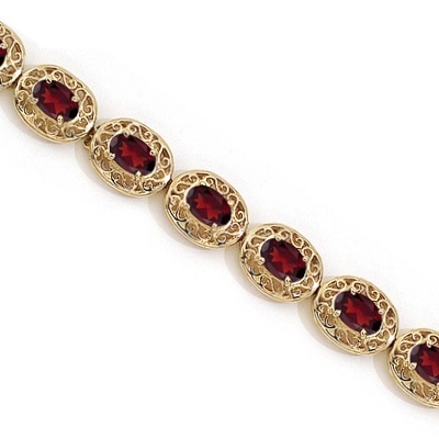 Garnet Antique Style Filigree Link Bracelet 14k Yellow Gold (9.35 ctw)