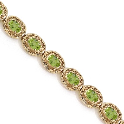 Peridot Antique Style Filigree Link Bracelet 14k Yellow Gold (9.35 ctw)