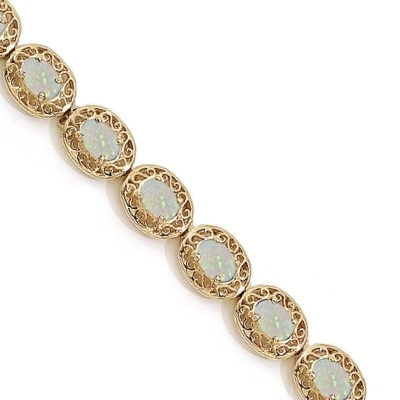 Opal Antique Style Filigree Link Bracelet 14k Yellow Gold (9.35 ctw)