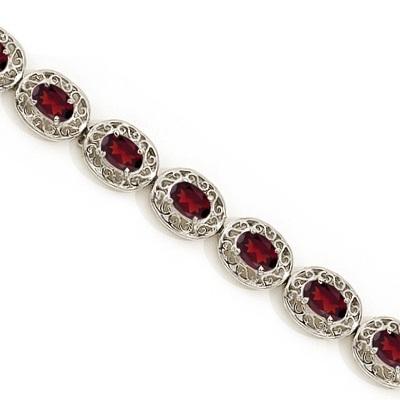 Garnet Antique Style Filigree Link Bracelet 14k White Gold (9.35ctw)