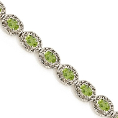Peridot Antique Style Filigree Link Bracelet 14k White Gold (9.35ctw)