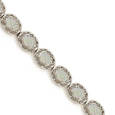 Opal Antique Style Filigree Link Bracelet 14k White Gold (9.35ctw)