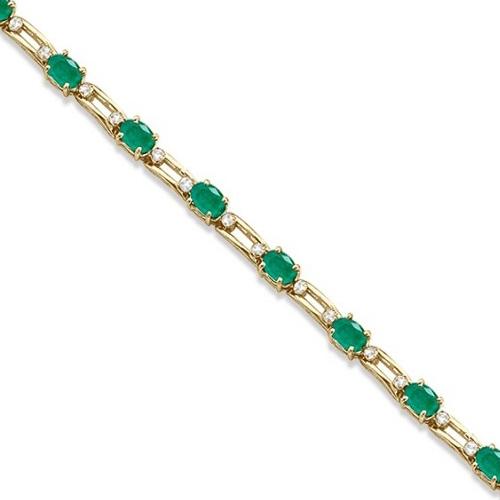 Diamond & Oval Cut Emerald Link Bracelet 14k Yellow Gold (7.50ctw)