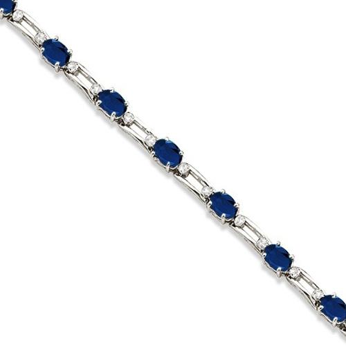 Diamond & Oval Blue Sapphire Link Bracelet 14k White Gold (7.50ct)
