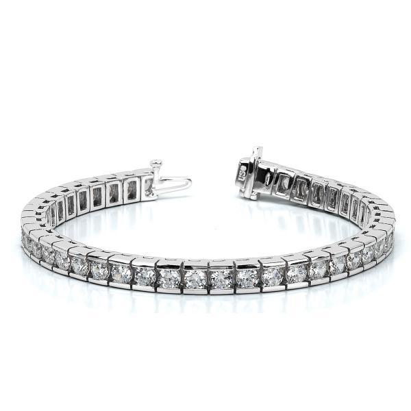 Channel Set Round Diamond Tennis Bracelet 14k White Gold 2 00ct