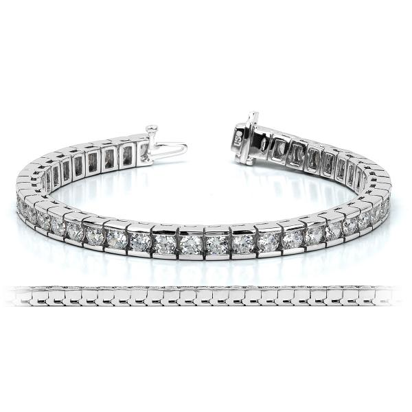 Ladies Channel Set Round Diamond Tennis Bracelet 14k White Gold 6.50ct