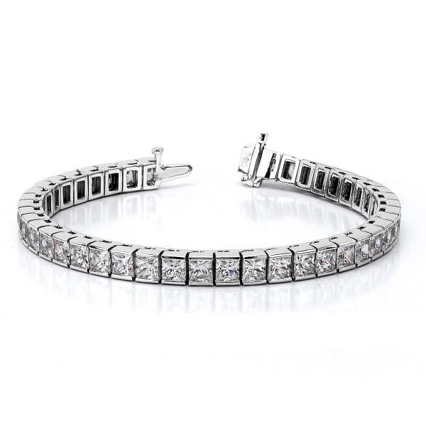 Channel Set Princess Cut Diamond Tennis Bracelet 14k White Gold 4.00ct