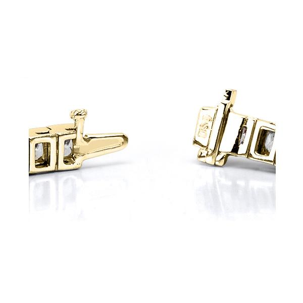 Channel Set Princess Cut Diamond Tennis Bracelet 14k Y. Gold 5.00ct