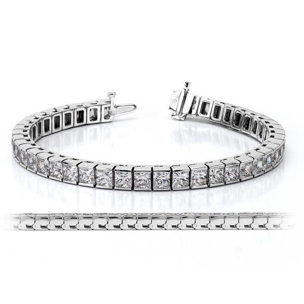 Channel Set Princess Cut Diamond Tennis Bracelet 14k White