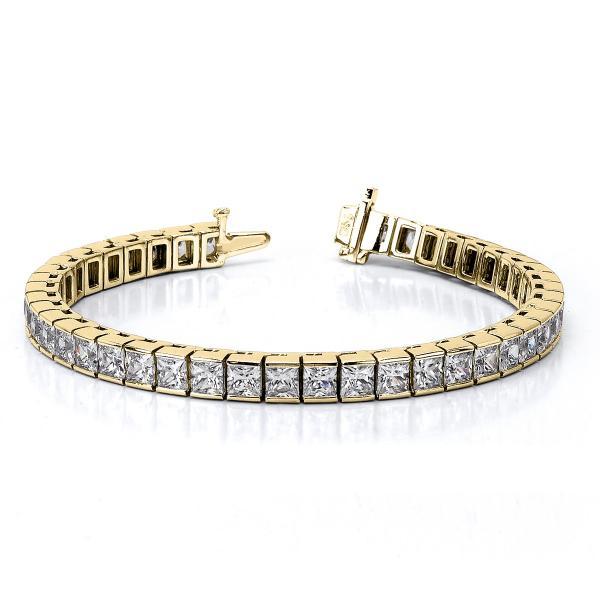 Channel Set Princess Cut Diamond Tennis Bracelet 14k Y. Gold 7.00ct