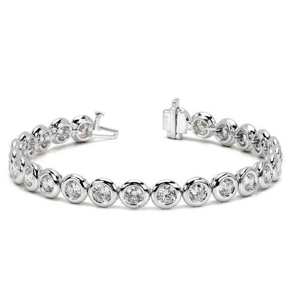 Ladies Bezel Set Round Diamond Tennis Bracelet 14k White Gold 2.50ct