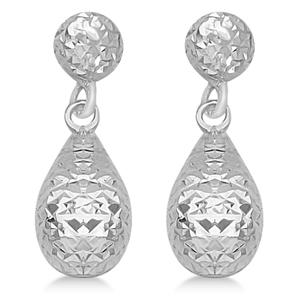 Textured Dangle Teardrop Earrings in 14k White Gold